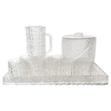ICONIC Icy Cold Vintage 1970s Craggy Lucite 12 Piece Patio / Pool Drink Server SET