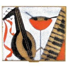 WONDERFUL Vintage 1950s 60s Handmade Copper Enamel Modernist Musical COMPACT