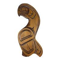 BIG 1970s 80s Dennis Matilpi Kwakiutl Canada Carved Wood Eagle Totem Wall Hanging ARTWORK