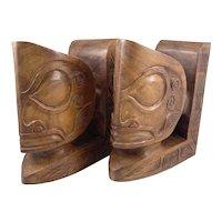 SUPERB Vintage 1940s 50s Hawaii Hand Carved Koa Wood Native Tribal Oceanic BOOKENDS