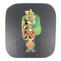 "ELABORATE Vintage 1960s 70s Handmade Copper Enamel on Wood Mexican Modernist Estela Maya ARTWORK - 4.75"" by 5.25"""