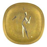 RARE Vintage 1950s Handmade Metales Casados Mexican Modernist GOLFER Golf Design TRAY