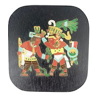 "ELABORATE Vintage 1960s 70s Handmade Copper Enamel on Wood Mexican Modernist Aztec King Tizoc ARTWORK - 4.75"" by 5.25"""