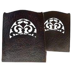 PAIR Antique Circa 1910-15 Arts & Crafts Handmade Hammered & Cutout Copper BOOKENDS