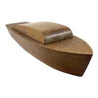 BIG Stylish Vintage 1930s 40s Streamline Moderne Hand Carved Solid Wood Speedboat Mens Trinket Jewelry BOX