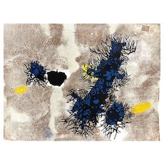 """ORIGINAL Vintage 1950s Hermann OBER Print on Paper """"Vegetative Forms"""" 44/200 Pencil Signed ARTWORK"""