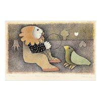 "ORIGINAL Signed Numbered 1960s 70s Carol Jablonsky USA ""Parrot Conversation"" Color LITHOGRAPH"