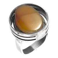 SCULPTURAL Vintage 1970s Cory USA Handmade Sterling Silver & Agate Modernist Cocktail RING - Size 6 US