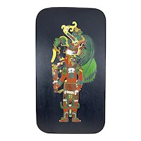 """HUGE Vintage 1960s 70s Signed Mexico Handmade Cloisonné Enamel Mayan Priest Wall Plaque ARTWORK - 14"""" by 8"""""""