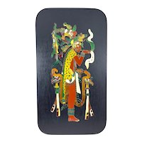 """HUGE Vintage 1960s 70s Signed Mexico Handmade Cloisonné Enamel Mayan God Playing the Flute Wall Plaque ARTWORK - 14"""" by 8"""""""