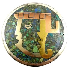 BIG Vintage 1950s Signed APA Taxco Handmade Mixed Metals Sterling Silver & Stone Inlay Mexican Modernist FACE Brooch PIN PENDANT