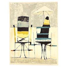 "ORIGINAL Nicola Sambari Italy 7 Color Lithograph on Paper ""Bianco A Gaeta"" ARTWORK"