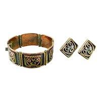 UNIQUE Vintage 1950s 60s MAYA Mexico Handmade Mixed Metals Modernist Faces Design Bracelet & Earrings SET