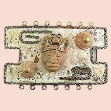 HUGE Vintage 1950s 60s MAYA Mexico Annette Nancarrow Design Mixed Metals Copper Brass & Pottery FACE & Beads BELT BUCKLE