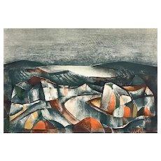 "ORIGINAL Vintage 1950s Rudolf Weissauer Germany Signed Numbered Lithograph ""Dunes"" 1/200 ARTWORK"