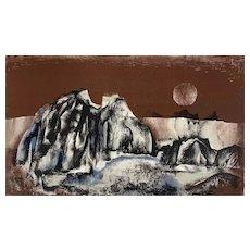 "ORIGINAL Vintage 1950s Rudolf Weissauer Germany Signed Numbered Lithograph ""Cliffs"" 1/200 ARTWORK"