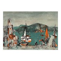 """ORIGINAL Vintage 1950s Rudolf Weissauer Germany Signed Numbered Lithograph """"Southern Port"""" 1/200 ARTWORK"""