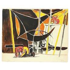 """Édouard PIGNON France 1950s 60s Signed Numbered Lithograph """"Bateaux À Ostende"""" ARTWORK"""