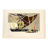"""Édouard PIGNON France 1950s Signed Numbered Lithograph """"Ostende"""" ARTWORK"""