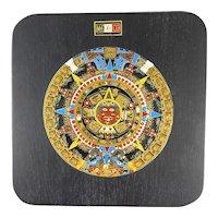 COLORFUL Vintage 1960s 70s Handmade Copper Enamel on Wood Mexican Modernist Aztec Calendar ARTWORK