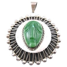 BIG Vintage 1950s SIGNED Taxco Sterling Silver & Carved Green Onyx FACE Design PENDANT