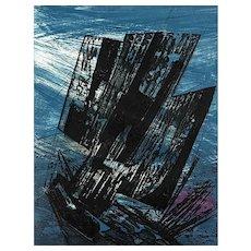 "ORIGINAL 1960s Terry HAASS Abstract Modernist ""Gouffre Marin"" 59/60 Atelier Lacouriere Paris ETCHING"