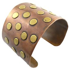 HUGE Vintage 1950s 60s Handmade Mixed Metals Copper & Brass DOTS Mexican Modernist Cuff BRACELET
