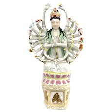 HUGE Vintage 1940s 50s Chinese Export Hand Painted & Gilt Ceramic Multi Armed Kwanyin Quanyin STATUE