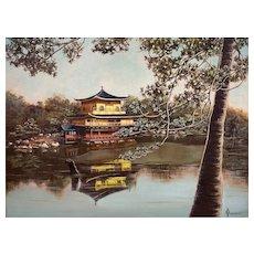 ORIGINAL Vintage 1960s Norma Buehrle USA Original Oil Pagoda at Lake Chinoiserie PAINTING