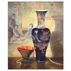 LOVELY Vintage 1960s Norma Buehrle USA Original STILL LIFE Chinoiserie PAINTING