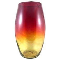 "BIG Vintage 1960s Blenko USA Handmade Amberina Art Glass VASE - stands 12"" tall!"