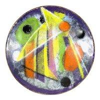 "SUPERB Vintage 1950s 60s Virgil Cantini USA Handmade Copper Enamel Abstract Modernist BOWL - 4"" diameter"