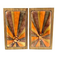PAIR Vintage 1960s Bovano Artisans Handmade Copper Enamel on Wood Abstract Modernist BOOKENDS