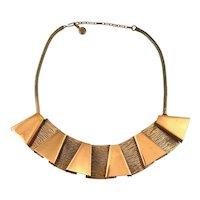 STRIKING 1950s Francisco Rebajes NYC Handmade Copper Geometric Modernist NECKLACE