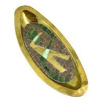 ICONIC 1950s Salvador Teran Taxco Handmade Brass & Glass Tile Mosaic Inlay Mexican Modernist Abstract Bird Design TRAY
