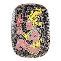 SUPERB Vintage 1960s 70s Virginia Tapia Handmade Copper Enamel Mexican Modernist Pre Columbian Figure ARTWORK