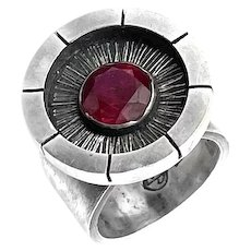 RARE One of a Kind 1950s James Parker California Sterling & Stone Modernist RING - Size 9.5 US
