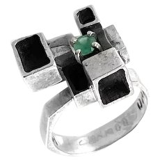 SUPERB 1960s Signed One of a Kind Handmade Sterling & Emerald Geometric Modernist Cocktail RING - Size 8 US
