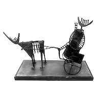 SUPERB Original George GARNER 1965 Hand Forged Bronze & Steel DOG and CHARIOT Modernist Brutalist SCULPTURE