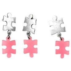 RARE Vintage 1980s TEGO Teresa Gonzalez Sterling & Pink Acrylic Modernist Puzzle Pieces Pendant & Earrings SET