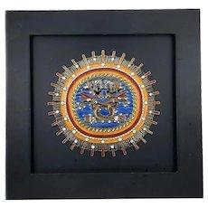 SUPERB Vintage 1960s 70s Miguel Pineda Mexico Handmade Copper Enamel SOL MUERTO Modernist ARTWORK