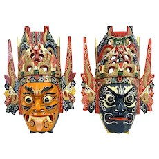 PAIR of Vintage 1950s 60s Indonesian Handmade Carved & Painted Wood GARUDA Guardian Artworks MASKS