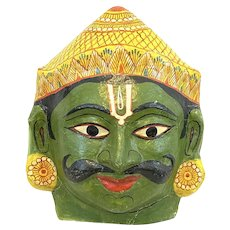 RARE Vintage 1960s 70s India Indian Handmade Painted Paper Mache Priest/God Festival MASK