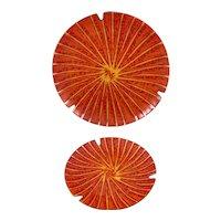 PAIR Vintage 1950s Annemarie Davidson California Handmade Copper Enamel Modernist Bowls/Trays ARTWORKS