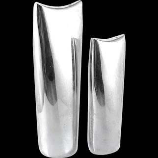 SCULPTURAL 1950s Ortega Handmade Sterling Silver Mexican Modernist Salt & Pepper SHAKERS