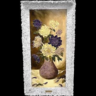 ORIGINAL Vintage 1950s Gloria Lutie Smith US Impasto Oil on Board Flowers Still Life PAINTING