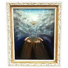SURREALIST Original Vintage 1970s Kathryn Meyer USA Oil on Board Eye and Hands in Clouds PAINTING