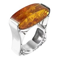 OUTSTANDING Vintage 1980s One of a Kind Handmade Sterling & Amber Modernist Cocktail RING - Size 8.5 - 9 US