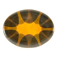"""BIG Vintage 1960s Miguel Pineda Mexico Handmade Copper Enamel Abstract Geometric TRAY - measures 11"""" by 6.5"""""""
