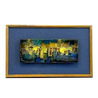 EXCEPTIONAL Vintage 1960s Gladys Stohrer Copper Enamel Modernist Cityscape ARTWORK